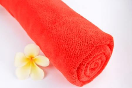 Colored red towels