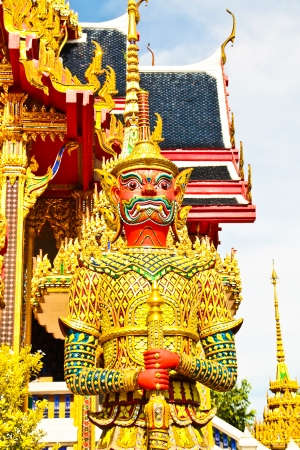 Giant guardian at Temple of the Emerald Buddha in Bangkok, Thailand