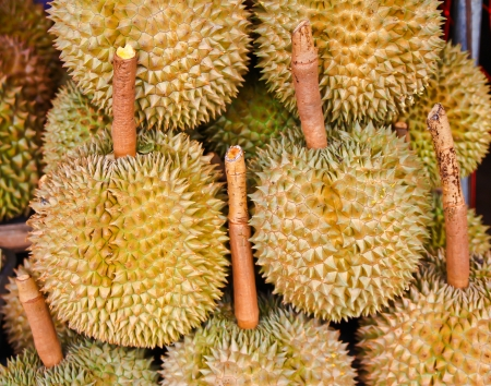 Durian fruits in the market, Thai style fruit, Thailand Stock Photo