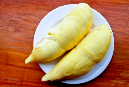 peeled durian on plate
