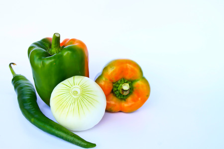 Sweet green pepper  Isolated on a white background