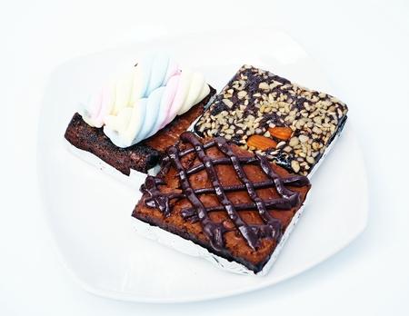 brownies dessert white background