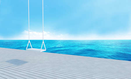pool rooms: Wooden swing with beach lounge sea view for vacation summer and blue sky background-3d rendering Stock Photo