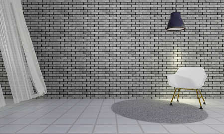loft: Loft and simple living room with modern wood chair and wooden wall background and copyspace-3d rendering Stock Photo