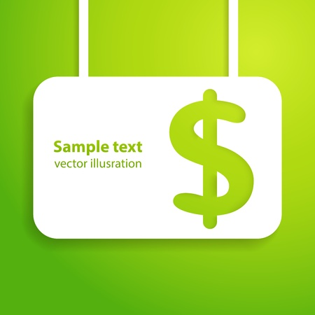 green sign: Dollar sign applique background illustration for your business design  Picture of the green money symbol  Easy to edit and change color  Illustration