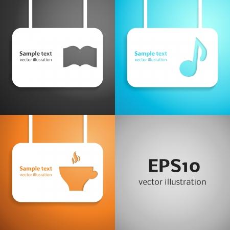 Leisure paper applique background set illustration for your education design Stock Vector - 20752009