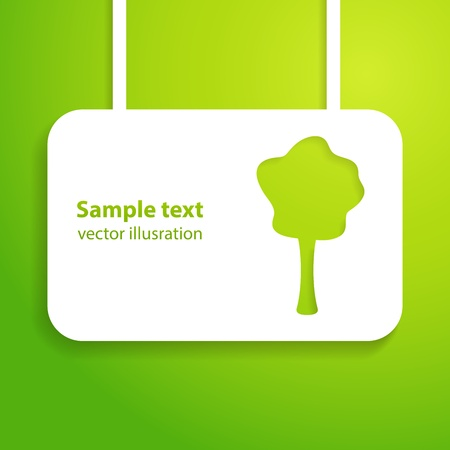 horizontal banner: Green applique background illustration for your ecology presentation  Picture of the cute green tree  Illustration