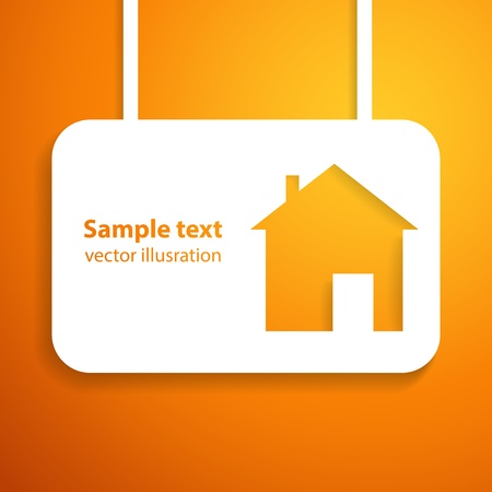 warm house: House applique background illustration for your business presentation  Picture of the cute orange home