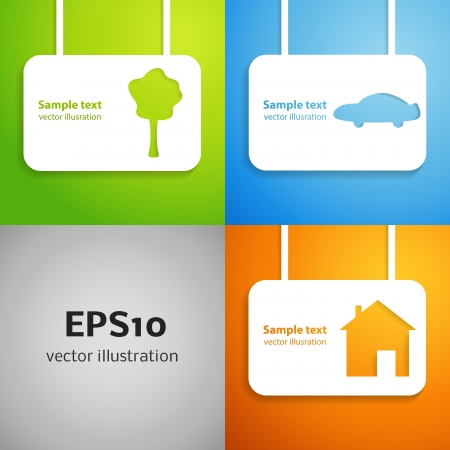 dream house: House, car and tree applique background set  illustration for your lovely design  Banner of simple bright symbols of family values for your business presentation