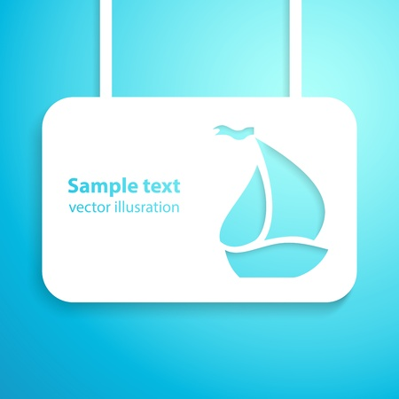 marine ship: Sail boat applique background illustration for your adventure and holiday presentation  Picture of the cute blue marine ship  Illustration