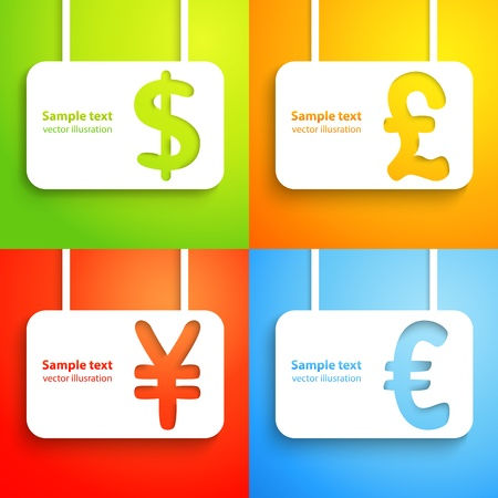 paper currency: Paper currency signs - dollar, euro, yen and pound money symbol  Green, orange, red and blue color background  With place for text  Funny icons  Illustration