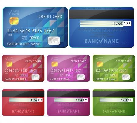 Reeks realistische creditcard twee kanten op een witte achtergrond illustratie voor uw bedrijf ontwerp Gedetailleerde glossy kaarten Vector Illustratie