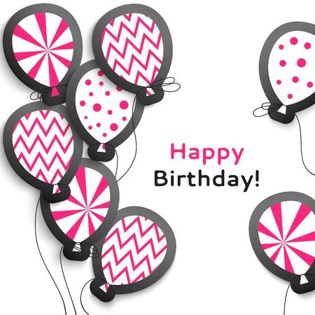 alegria: Postal del cumpleaños feliz con los globos ilustración para su presentación vacaciones Fácil de usar de postal en colores emoción Vectores