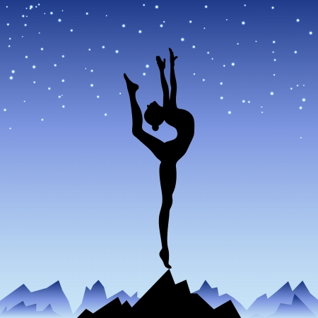 equilibrium: Beautiful flexible girl gymnast staying on one leg  Girl at success peak  Trainings from sunrise to a sunset illustration of persistence, aspiration and inspiration