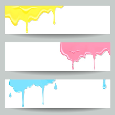 fond: Three colorful paint banners illustration for your fine soft design  Fond website header  Set of company business stripe card and backdrop for advertise