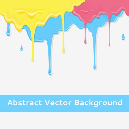 dripping paint: Paint colorful dripping background in three color option illustration for your bright gently design  Realistic streams of paint  Abstract wallpaper