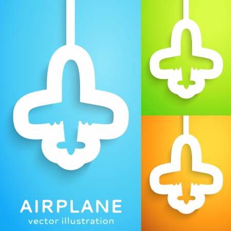 Air plane cut out of paper on color background  Vector illustration for your transportation aviation design  Picture of the cute blue aircraft  Sign of shipping operations, free and world connection  Vector