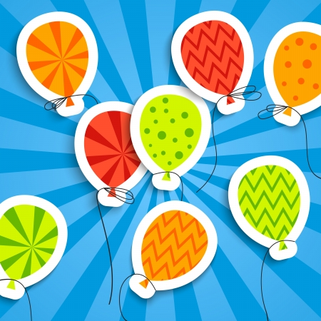 fun: Funny postcard with balloons  Vector illustration for your holiday presentation  Easy to use and color change  Postcard picture in bright red, green, orange and blue color