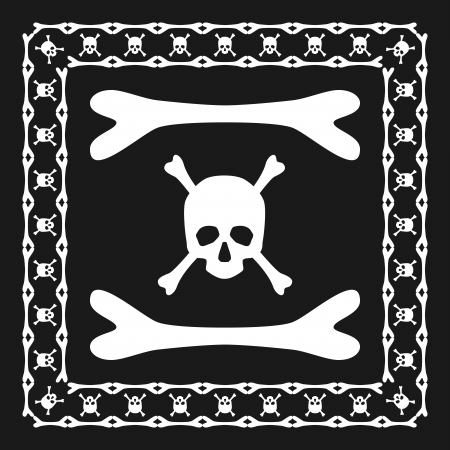 Skull and bones pattern brush with corner  Vector illustration for your dangerous design  Can be used as frame, border, divisor and pirate decoration