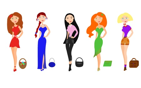 Set of beautiful girls  Vector illustration for your fashion design Vector