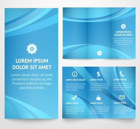 Professionnel de trois modèle de dépliant d'affaires pli, brochure corporative ou conception de la couverture, de l'édition, l'impression vectorielle illustration de la conception moderne bleu disposition Tri-fold avec des vagues Illustration