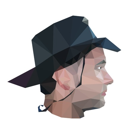 stylish man: Profile of young man in origami style. Vector illustration of stylish man in elegant black hat. Colorful cowboy. Illustration