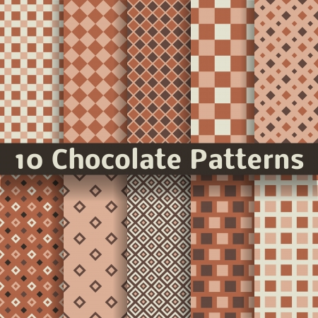 10 Chocolate vector seamless patterns (tiling). Monochrome brown color. Endless texture can be used for printing onto fabric and paper or scrap booking. Square shapes. Textures of chocolate bar. Vector
