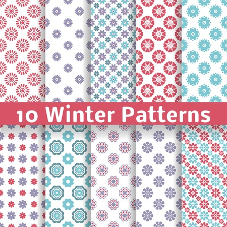 10 Light winter romantic vector patterns (tiling). Shabby chic red, white and blue colors. Snowflakes background. Abstract flower seamless wallpaper. Beautiful and elegant flakes. Vector