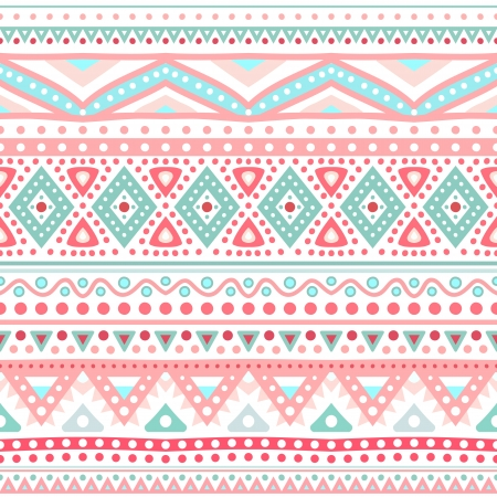 Tribal ethnic seamless stripe pattern. Vector illustration for your cute feminine romantic design. Aztec sign on white background. Pink and blue colors. Borders and frames. Vector