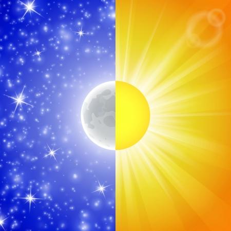 dia y noche: Día y noche. Ilustración vectorial de una pantalla dividida que muestra el Sol y la Luna. Resumen de antecedentes. Imagen del cielo con estrellas, rayos y luces.