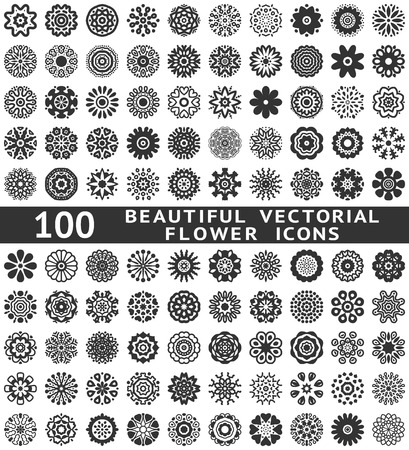 floral design: 100 Beautiful abstract flower icons. Vector illustration for your pretty chic design. Set of natural shapes. Different romantic feminine symbols. Spring and summer elements. Fantasy collection.