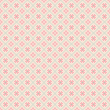 Floral vector seamless pattern with lines (tiling). Pink, white and blue shabby color. Endless texture can be used for printing onto fabric and paper or scrap booking. Flower abstract shape. Vector