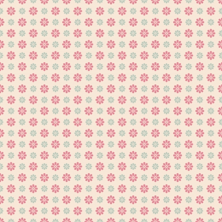Floral vector seamless pattern (tiling). Pink, white and blue shabby color. Endless texture can be used for printing onto fabric and paper or scrap booking. Flower abstract shape.