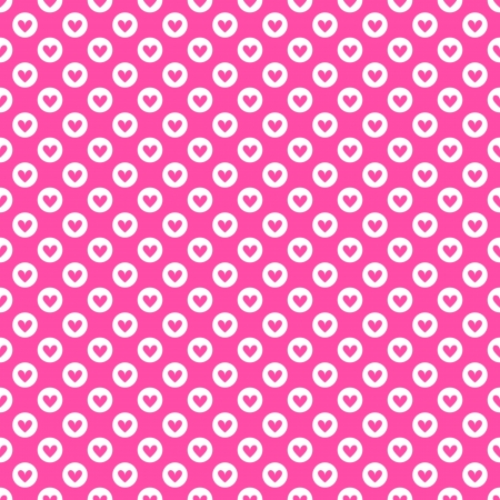 Heart shape vector seamless pattern (tiling). Pink and white colors. Endless texture can be used for printing onto fabric and paper or scrap booking. Valentines day background for invitation. Vector