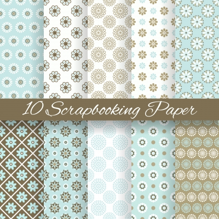 10 Pattern papers for scrapbook  tiling   Blue, white and brown shabby color  Endless texture can be used for printing onto fabric and paper or scrap booking  Flower abstract shape  Baby wallpaper  Vector
