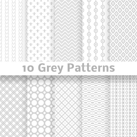 10 Grey vector seamless patterns  tiling   Endless texture can be used for wallpaper, pattern fills, web page background, surface textures  Set of monochrome geometric ornaments