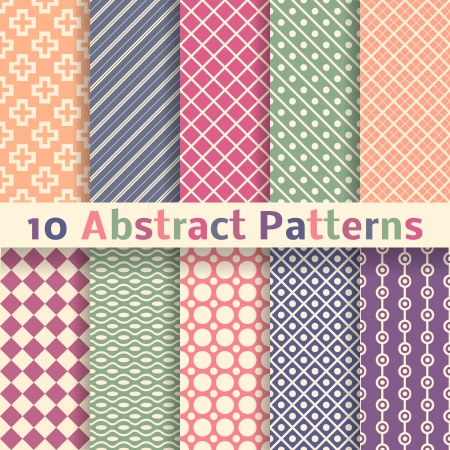 pastel colors: 10 Retro abstract vector seamless patterns  tiling   Endless texture can be used for wallpaper, pattern fills, web page background, surface textures  Set of pastel monochrome geometric ornaments