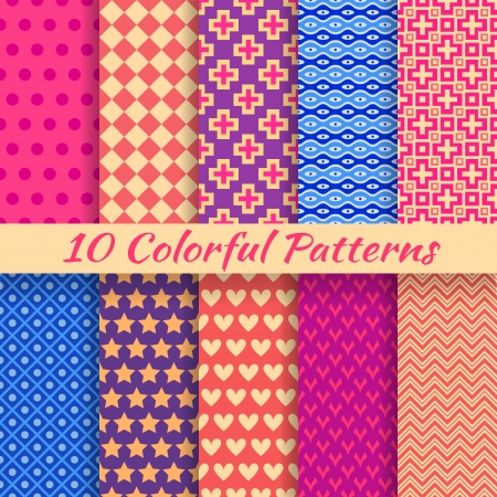 10 Colorful geometric bright seamless patterns  tiling   Vector illustration for funny attractive design  Endless texture can be used for fills, web page background, surface  Abstract wallpaper  Vector