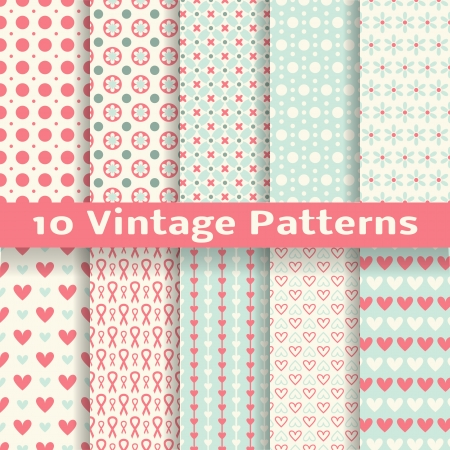 10 Vintage fashionable vector seamless patterns  tiling   Retro pink, white and blue colors  Endless texture can be used for printing onto fabric and paper, scrapbook  Heart, dot and flower shapes  Vector