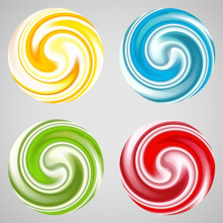 twirl: Set of milk yogurt cream curl or lollipop  Vector illustration for sweet sugarplum design  Smooth textures of sugar candy  Bright red, blue, yellow, green and white color