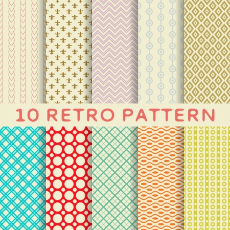 10 Retro different vector seamless patterns (tiling). Endless texture can be used for wallpaper, pattern fills, web page background,surface textures. Set of monochrome geometric ornaments. Illustration