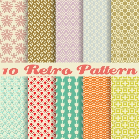 10 Retro different vector seamless patterns (tiling). Endless texture can be used for wallpaper, pattern fills, web page background,surface textures. Set of monochrome geometric ornaments. Ilustração