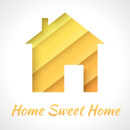 House applique background. Vector illustration for your business presentation. Picture of the cute orange home of paper strips. Home sweet home.