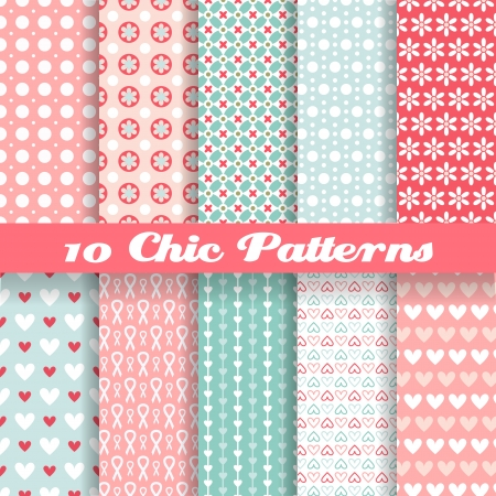 10 Chic different vector seamless patterns (tiling). Pink and blue color. Endless texture can be used for printing onto fabric and paper or scrap booking. Heart, flower and dot shape. Ilustração