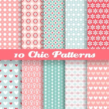 10 Chic verschillende vector naadloze patronen (tegels). Roze en blauwe kleur. Endless textuur kan worden gebruikt voor het printen op doek en papier of schroot het boeken. Hart, bloem en puntvorm.