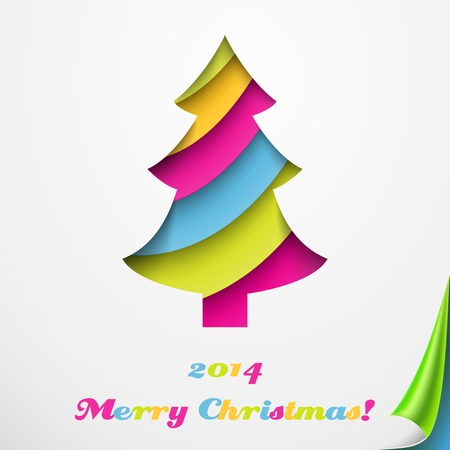 Colorful Merry Christmas greeting card with tree. Vector illustration for your holiday presentation. Postcard picture. For greeting, invitation. Applique cut from paper. Happy New Year. Vector