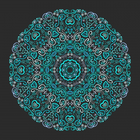 Beautiful aqua ornamental background. Vector illustration for your yoga fashion design. Fond fine greeting card, round postcard with floral ornaments, excellent element for menu and invitation. Vector
