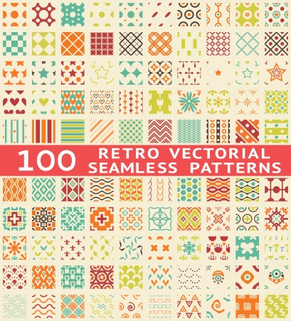 Retro different vector seamless patterns (with swatch). Endless texture can be used for wallpaper, pattern fills, web page background, surface textures. Set of vintage color geometric ornaments. Vector