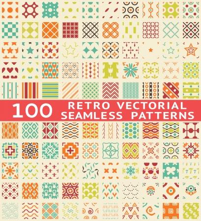 Retro verschillende vector naadloze patronen (met staal). Endless textuur kan worden gebruikt voor behang, patroonvullingen, webpagina achtergrond, oppervlaktestructuren. Reeks uitstekende kleur geometrische ornamenten. Stock Illustratie
