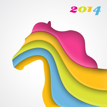 Year of the horse. Christmas and New Year card. Vector illustration for your holiday design. Abstract image of horse which has been cut out from paper. Applique background. 2014 Stock Vector - 25351677